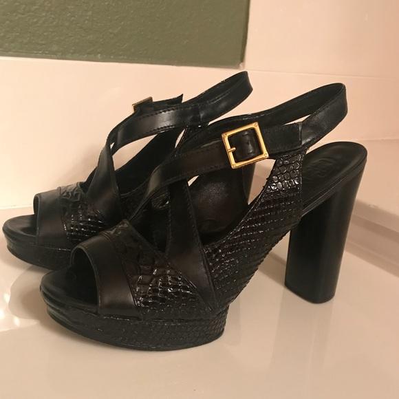 270365dd9a596 Tory Burch Deidre Black Leather Platform Sandals 8.  M 5bd13cbc3c98449d57833ce1